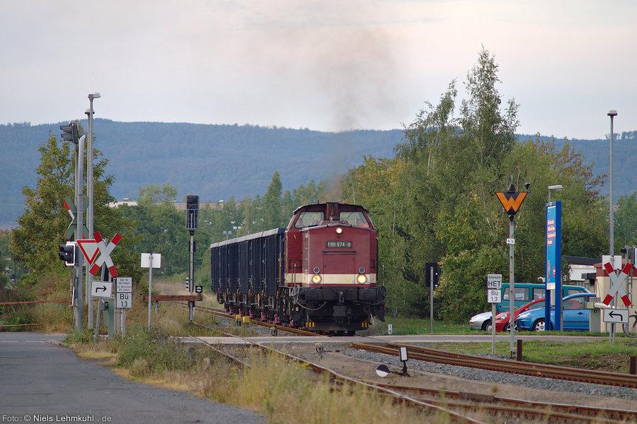 Unser Harzkamel erreicht die Rollbockverladung an der Hesseröder Straße in Nordhausen.